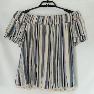 Xhilaration striped off shoulder shirt